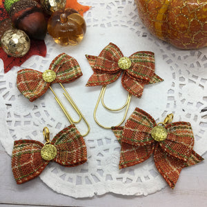 Fall Gathering Plaid Planner Bow Clip or Bow Charm