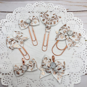 Rose Gold Flowers on White Planner Clips or Charms