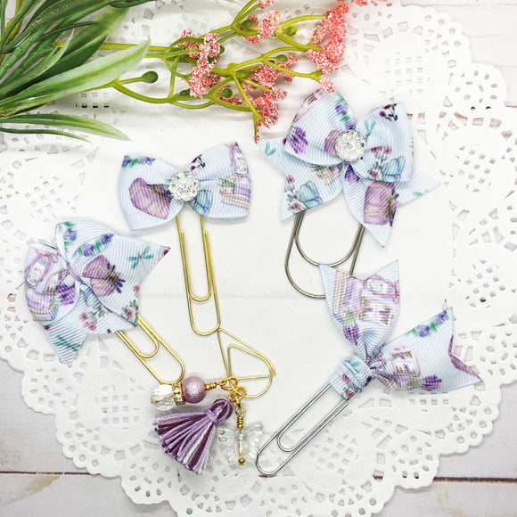 Vintage Lavender Planner Bow Clip, Flag Clip or Bow Charm