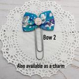 Holographic Mermaids Planner Bow Clip, Flag Clip or Bow Charm