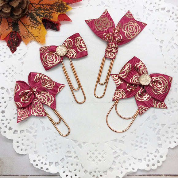 Rose Gold Floral on Cranberry Planner Clips or Charms