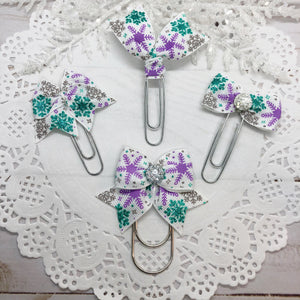 Purple, Teal & Silver Glittery Snowflakes Planner Clips or Charms