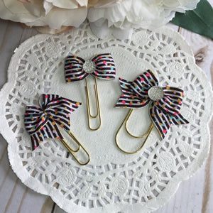 Colorful Dots on Stripes Planner Bow Clip or Charm