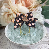 Vintage Peach Floral on Black Planner Clips or Charms