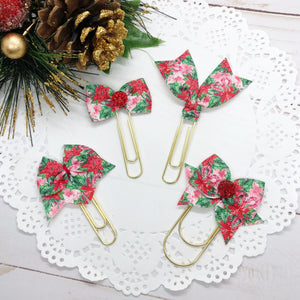 Candy Canes & Poinsettias Planner Bow Clip, Flag Clip or Bow Charm