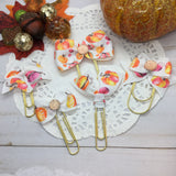 Pink & Orange Watercolor Pumpkins -Planner Bow Clips, Flag Clip, Wide Bow Clip or Bow Charm