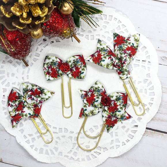 Poinsettias Bow Clip, Flag Clip or Bow Charm