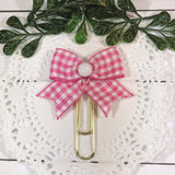 Pink Gingham Planner Bow Clip, Dangle Clip or Bow Charm