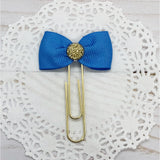Cornflower Blue Planner Bow Clip, Flag Clip or Bow Charm
