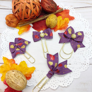 Fall Leaves on Purple Planner Clips or Charms