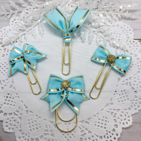 Light Blue w/Gold Stripe Planner Clips or Charms