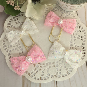 Glitter Lace Planner Bow Clip or Charm