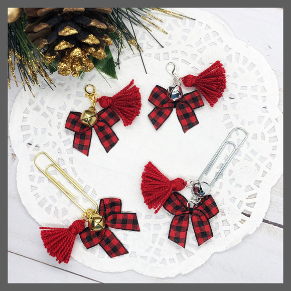 Buffalo Plaid Bow w/Bell & Tassel Planner Dangle Clip or Charm
