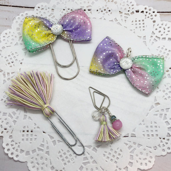Spring Fun! Wide Planner Bow Clip, Charm, Tassel Clip or Dangle Clip
