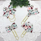Burgundy & Pink Floral Planner Clips or Charms