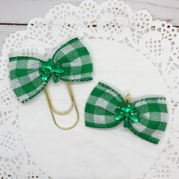 St. Patrick's Plaid Wide Planner Clip or Charm