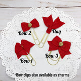 Red Planner Bow Clip, Flag Clip or Bow Charm