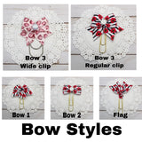 Navy w/Red, Blue & Yellow Flowers Planner Bow Clip, Flag Clip or Bow Charm