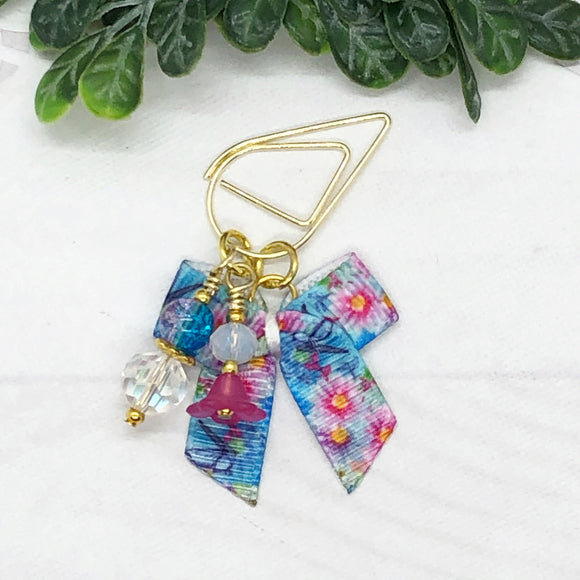 Butterfly Floral Teardrop Clip, Wide Clip or Charm