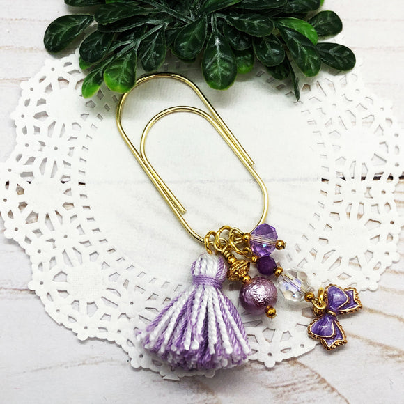 Lavender Tassel & Bow Teardrop Clip, Wide Dangle Clip or Charm