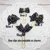 Pastel Cascading Dots on Black Planner Bow Clip, Flag Clip or Bow Charm