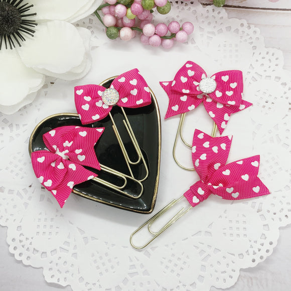 Be Mine Pink Planner Bow Clip, Flag Clip or Bow Charm