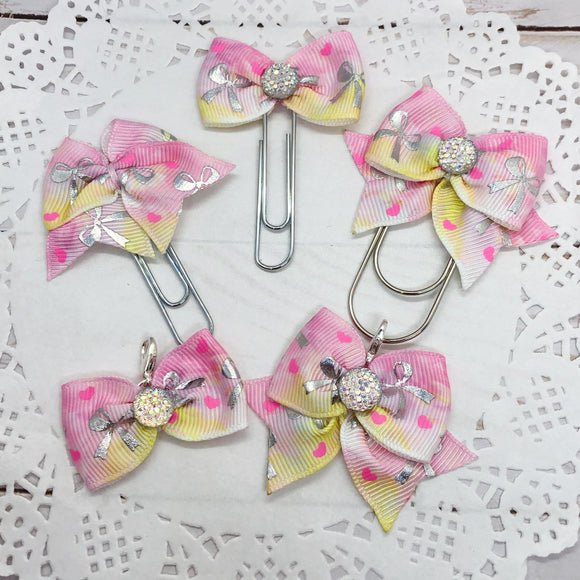 Silver Bows on Pink & Yellow Planner Clips or Charms