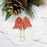 Red & Gold Christmas Stripes Planner Clips or Charms