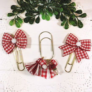Red Gingham Planner Bow Clip, Dangle Clip or Bow Charm