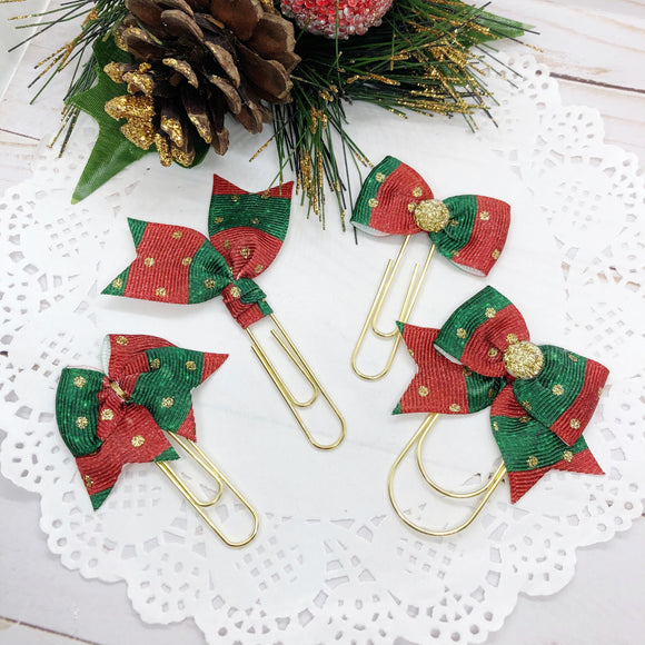 Red, Green & Gold Dots Planner Clips or Charms