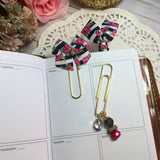 Black & White Stripe w/Roses Planner Clip Set