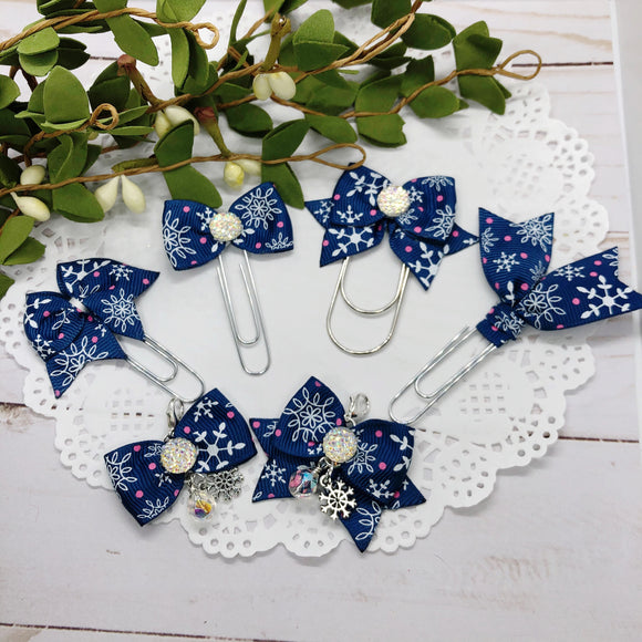 Snowflakes! Planner Bow Clip, Flag Clip or Bow Charm