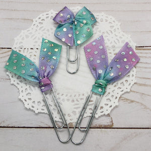 Holographic Dots on Ombré Planner Bow Clips