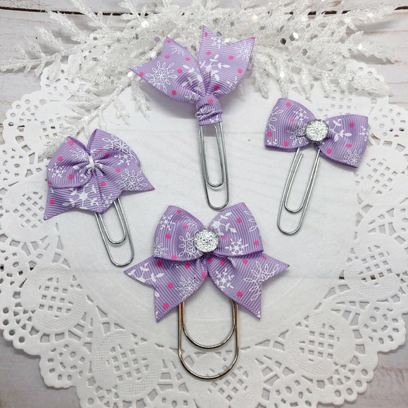 Snowflakes on Lavender Planner Clips or Charms