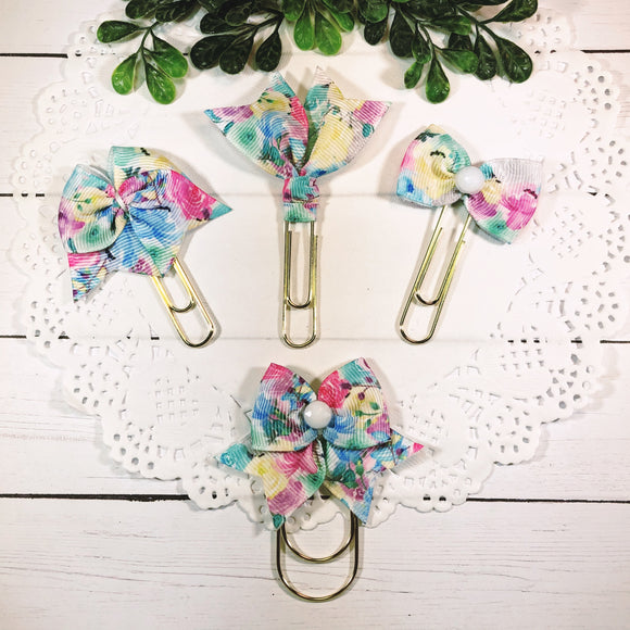 Pastel Florals Planner Bow Clip, Flag Clip or Bow Charm