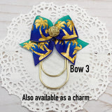 Blue Tropics Planner Bow Clip, Flag Clip or Bow Charm