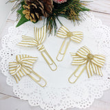 Cream & Gold Christmas Stripes Planner Clips or Charms