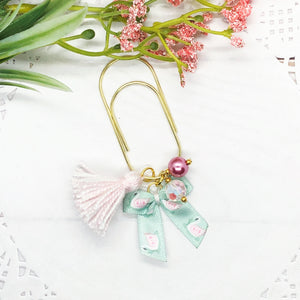 Mini Swan Bow w/Mini Tassel Teardrop Clip, Wide Dangle Clip or Charm