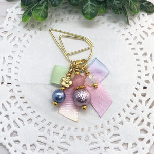Mini Spring Pastel Bow Teardrop Clip, Wide Dangle Clip or Charm