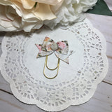Vintage Floral on White Planner Clip or Charm