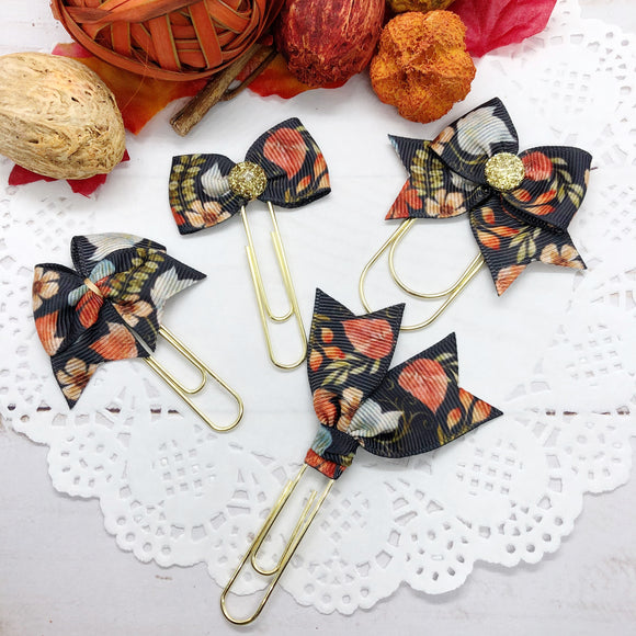 Fall Leaves on Black Planner Clips or Charms
