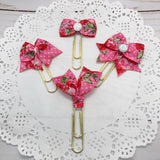 Pink Hearts Floral Planner Bow Clip, Flag Clip or Bow Charm
