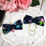 Satin Floral Planner Bow Clip or Charm