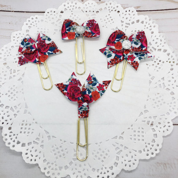 Red & Blue Vintage Floral Planner Bow Clip, Flag Clip or Bow Charm