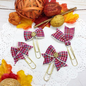 Red & Cream Plaid Planner Clips or Charms