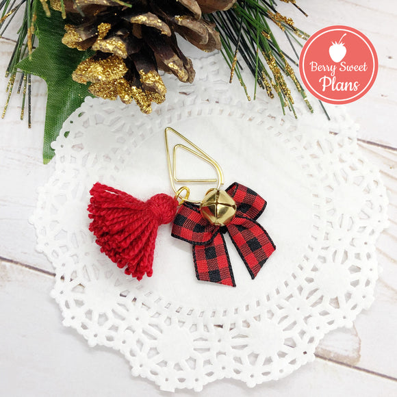 Buffalo Plaid Christmas Teardop Dangle Clip