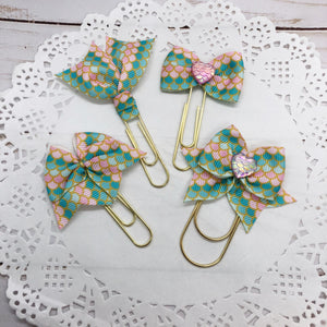 Pastel Mermaid Planner Bow Clip, Flag Clip or Bow Charm
