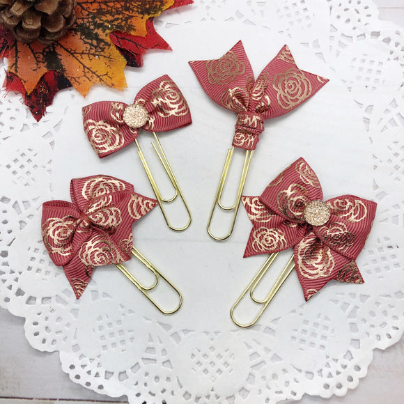 Rose Gold Floral on Deep Dusty Mauve Planner Clips or Charms