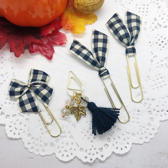 Navy & Cream Plaid Planner Clip Set