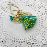 Tiny Flower Teardrop Clip w/Tassel